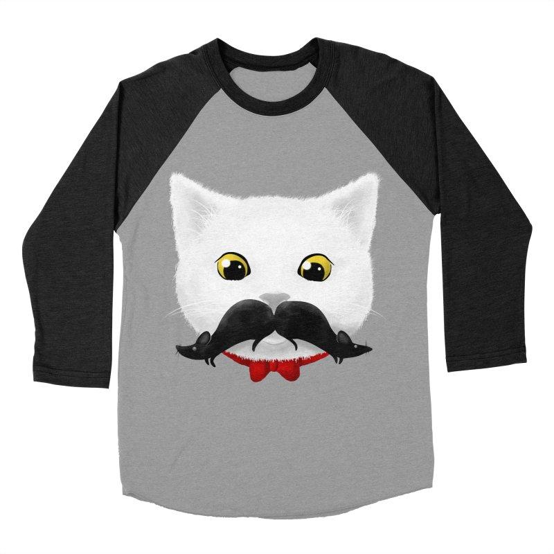 mr. cat's mouse-tache Women's Baseball Triblend T-Shirt by Rejagalu's Artist Shop