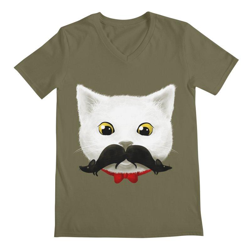 mr. cat's mouse-tache Men's V-Neck by Rejagalu's Artist Shop