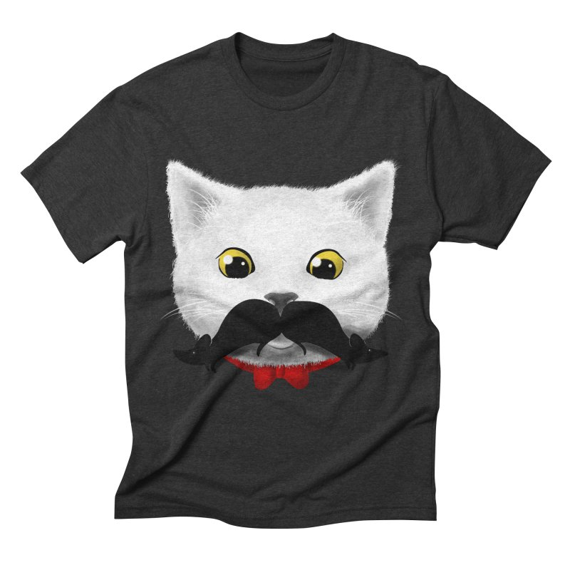 mr. cat's mouse-tache Men's Triblend T-shirt by Rejagalu's Artist Shop