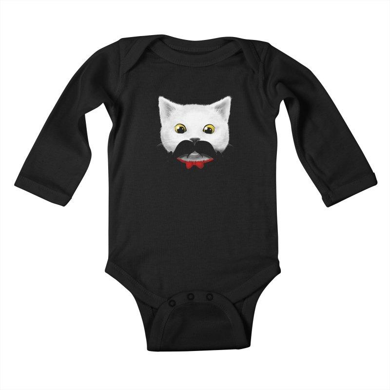mr. cat's mouse-tache Kids Baby Longsleeve Bodysuit by Rejagalu's Artist Shop