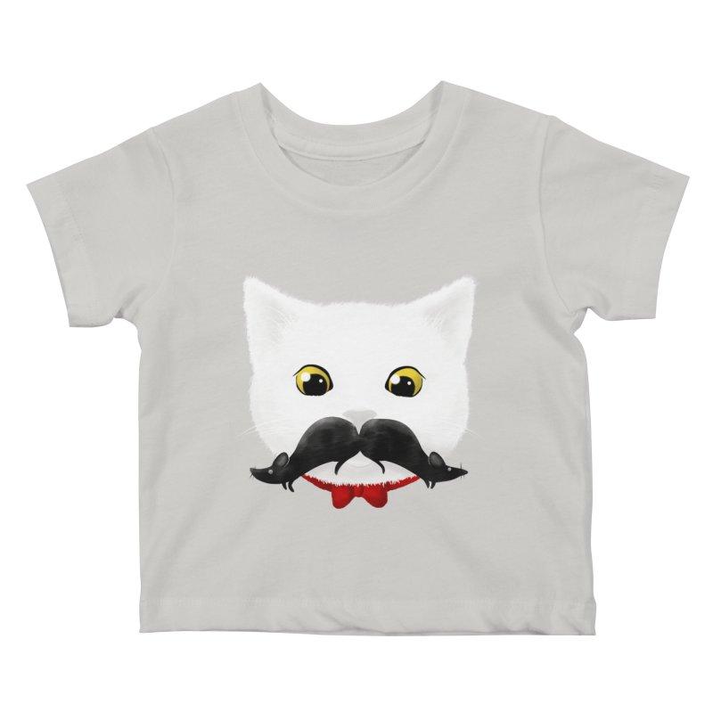 mr. cat's mouse-tache Kids Baby T-Shirt by Rejagalu's Artist Shop