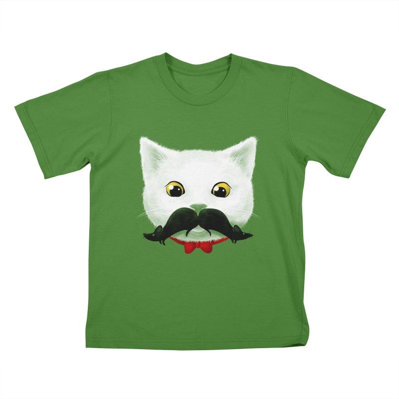 mr. cat's mouse-tache Kids T-Shirt by Rejagalu's Artist Shop