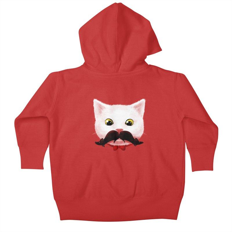mr. cat's mouse-tache Kids Baby Zip-Up Hoody by Rejagalu's Artist Shop