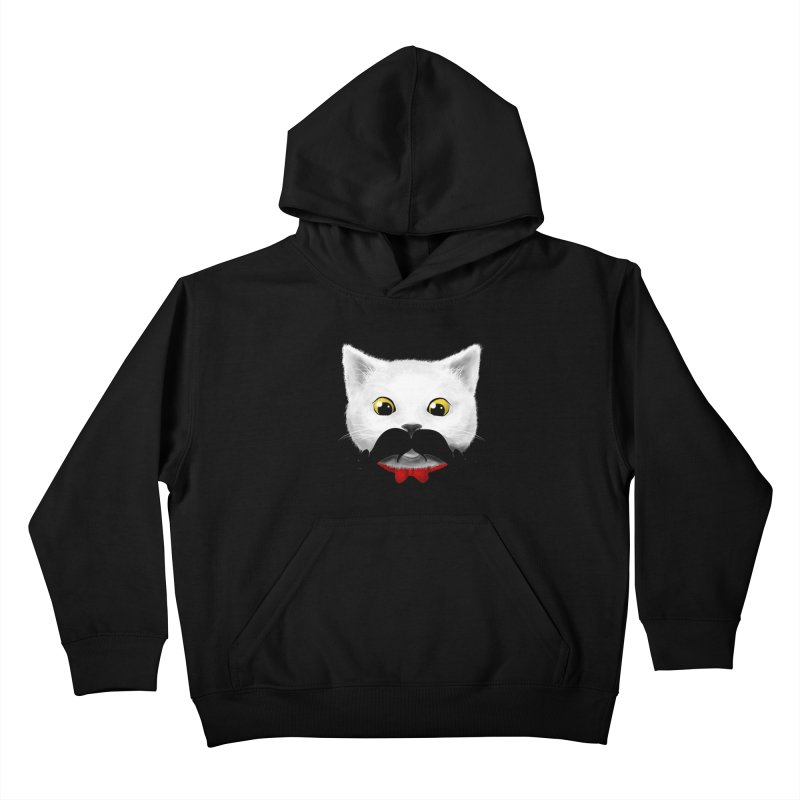mr. cat's mouse-tache Kids Pullover Hoody by Rejagalu's Artist Shop
