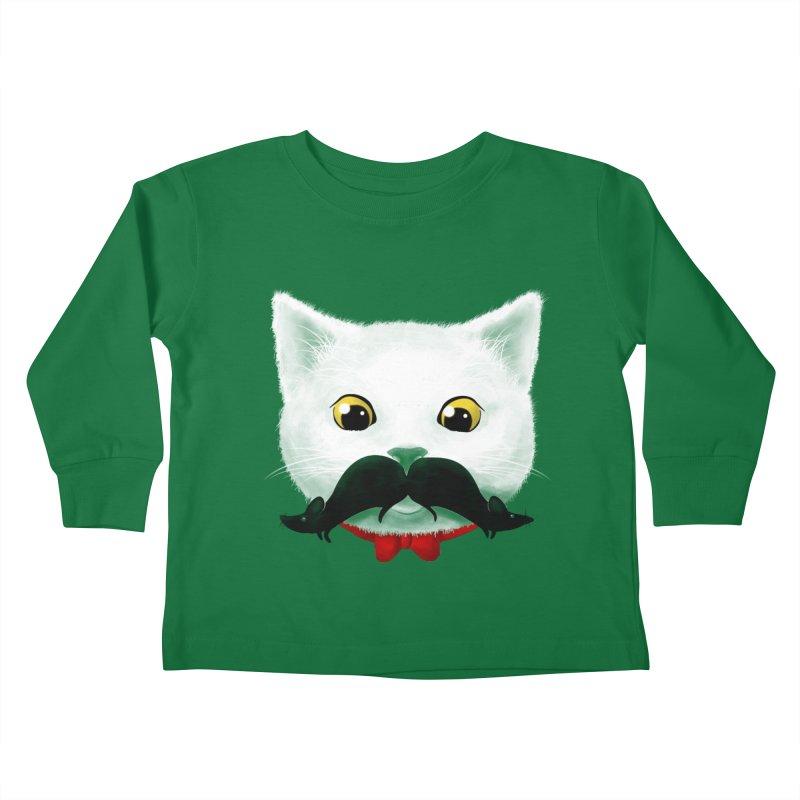 mr. cat's mouse-tache Kids Toddler Longsleeve T-Shirt by Rejagalu's Artist Shop