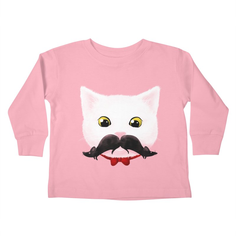 mr. cat's mouse-tache Kids Toddler Longsleeve T-Shirt by Rejagalu's Artist Shop