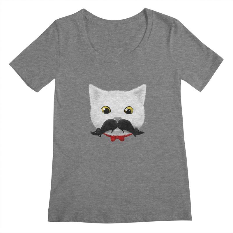 mr. cat's mouse-tache Women's Scoopneck by Rejagalu's Artist Shop