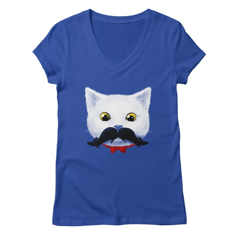mr. cat's mouse-tache Women's V-Neck by Rejagalu's Artist Shop