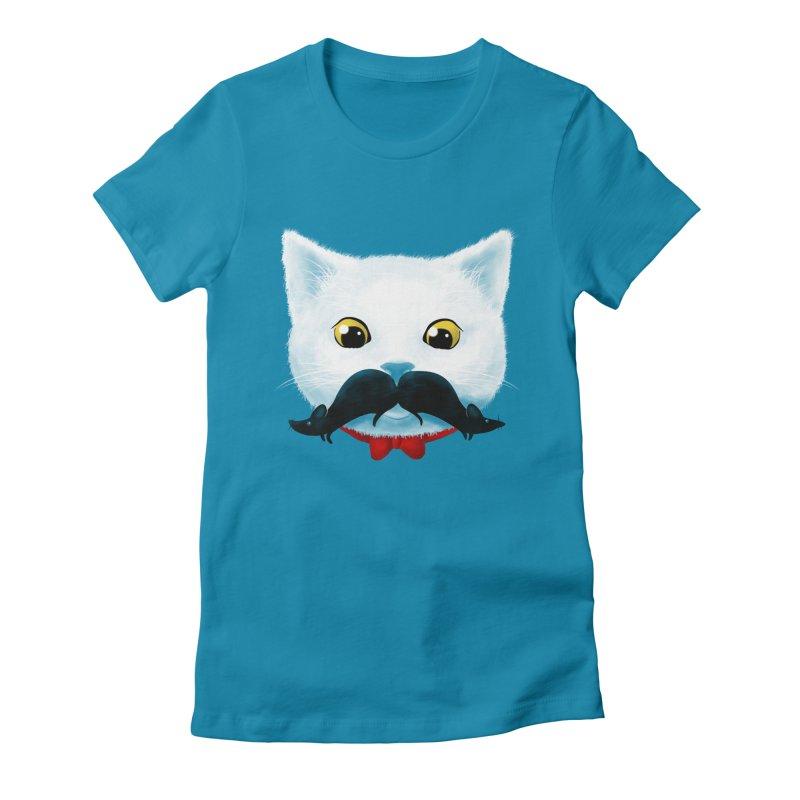 mr. cat's mouse-tache Women's Fitted T-Shirt by Rejagalu's Artist Shop
