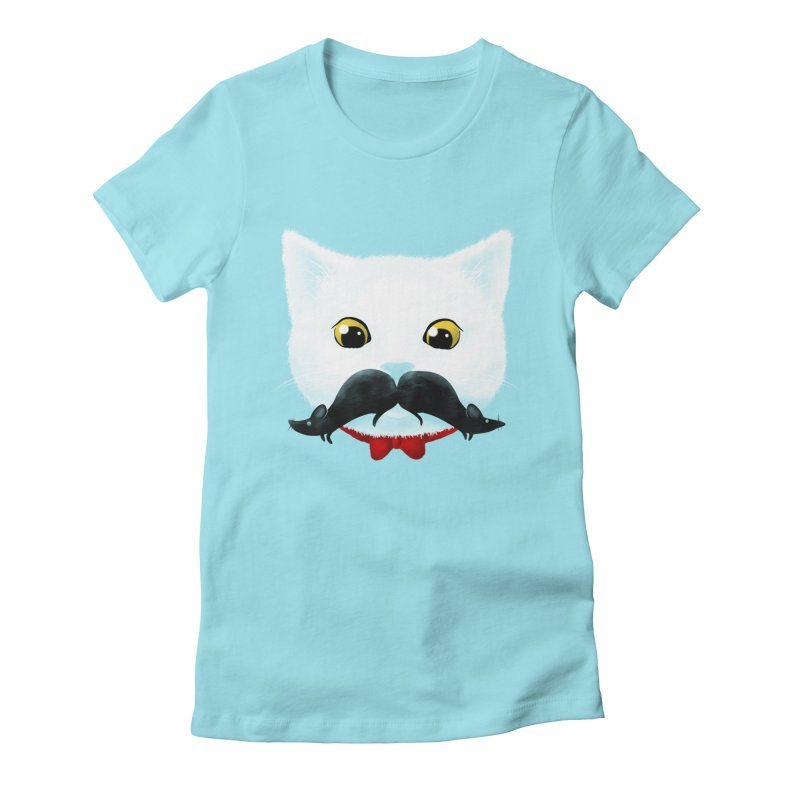 mr. cat's mouse-tache Women's Fitted T-Shirt by Rejagalu's Artist Shop