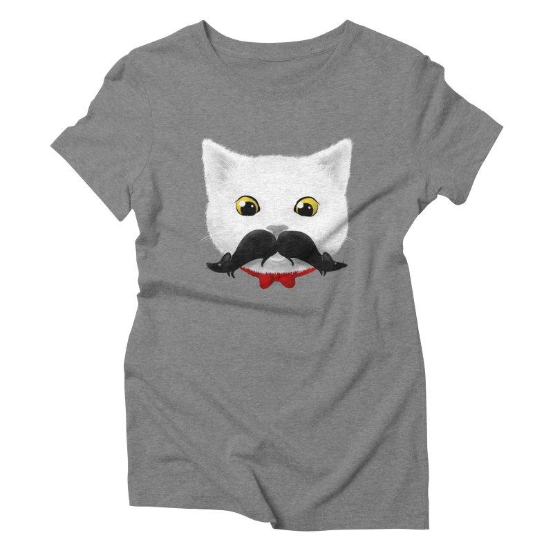 mr. cat's mouse-tache Women's Triblend T-shirt by Rejagalu's Artist Shop