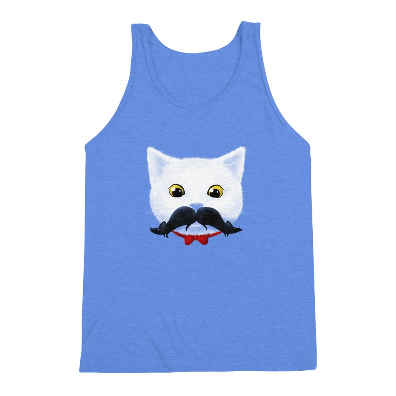 mr. cat's mouse-tache Men's Triblend Tank by Rejagalu's Artist Shop