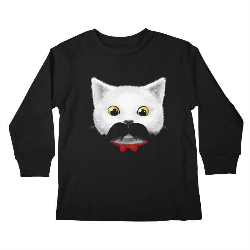 mr. cat's mouse-tache Kids Longsleeve T-Shirt by Rejagalu's Artist Shop