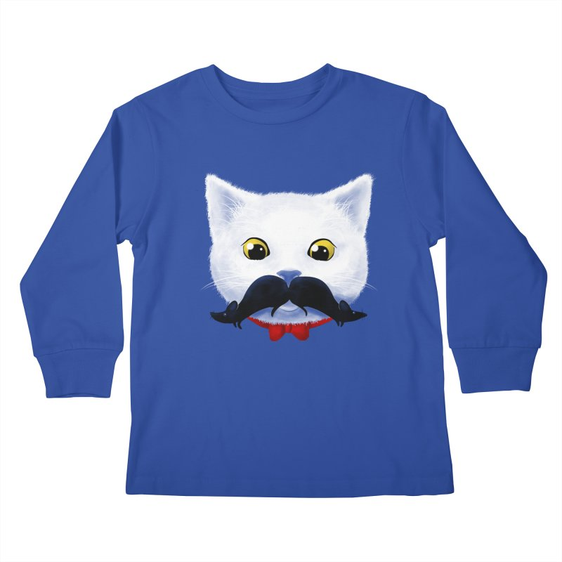 mr. cat's mouse-tache Kids Longsleeve T-Shirt by Rejagalu's Artist Shop