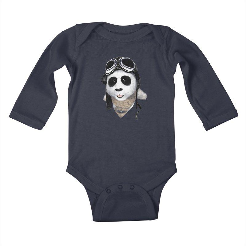 the aviator - born to fly Kids Baby Longsleeve Bodysuit by Rejagalu's Artist Shop