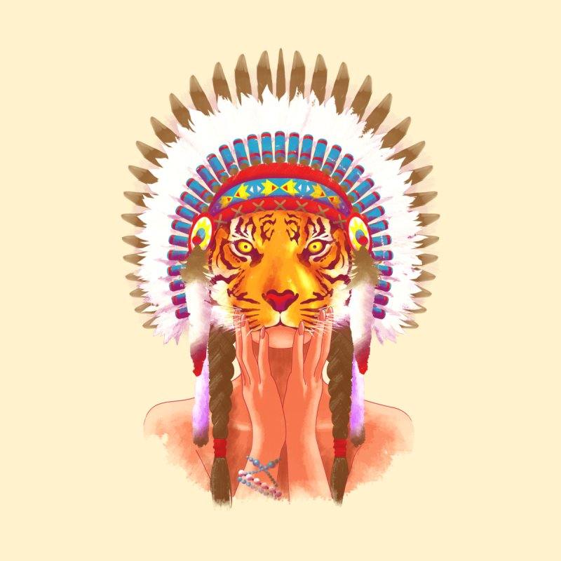 Native American tigress None  by Rejagalu's Artist Shop
