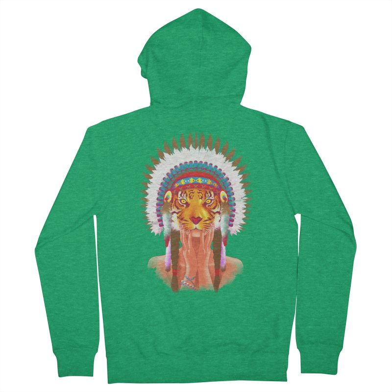 Native American tigress Men's Zip-Up Hoody by Rejagalu's Artist Shop