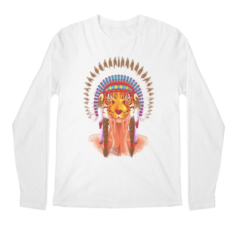 Native American tigress Men's Longsleeve T-Shirt by Rejagalu's Artist Shop
