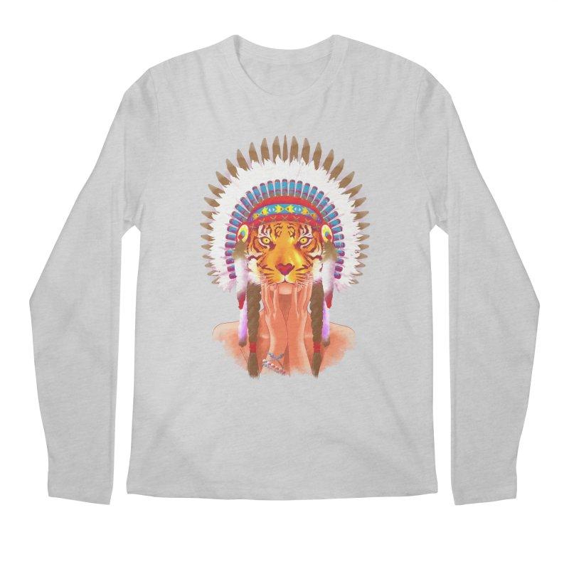 Native American tigress Men's Longsleeve T-Shirt by Rejagalu's Artist Shop