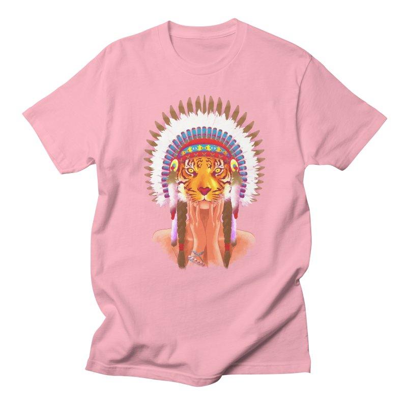 Native American tigress Men's T-Shirt by Rejagalu's Artist Shop