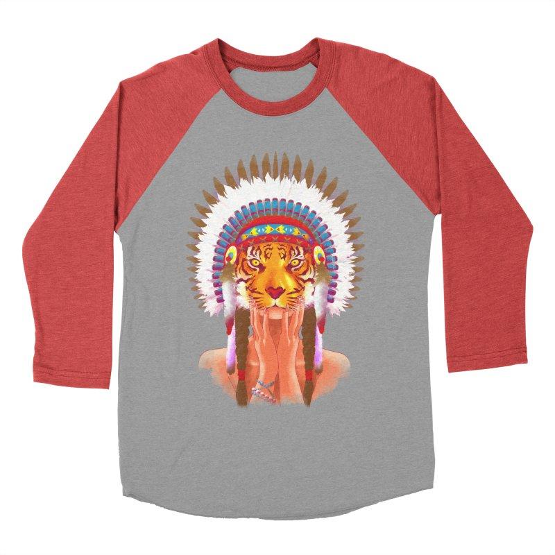 Native American tigress Women's Baseball Triblend T-Shirt by Rejagalu's Artist Shop