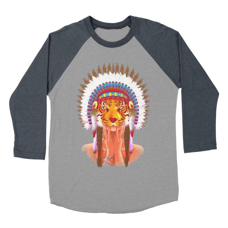 Native American tigress Men's Baseball Triblend T-Shirt by Rejagalu's Artist Shop