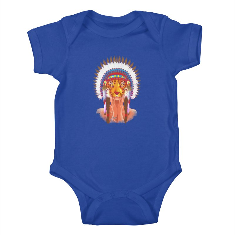 Native American tigress Kids Baby Bodysuit by Rejagalu's Artist Shop