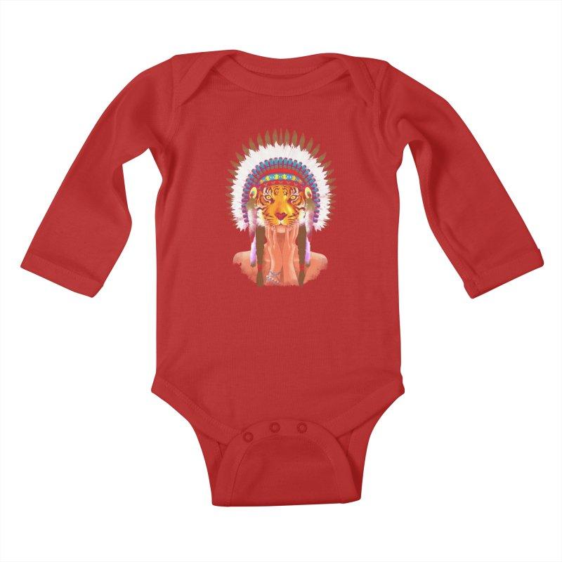 Native American tigress Kids Baby Longsleeve Bodysuit by Rejagalu's Artist Shop