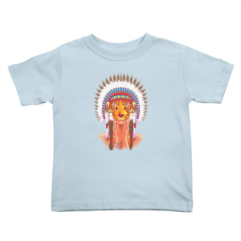 Native American tigress Kids Toddler T-Shirt by Rejagalu's Artist Shop