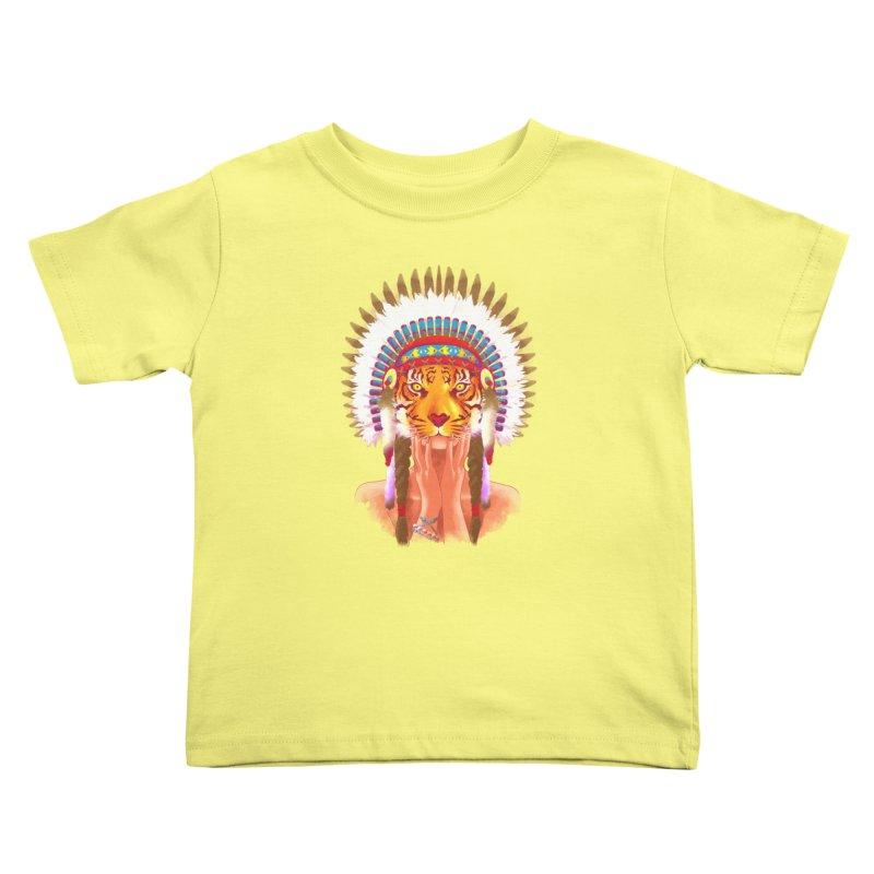 Native American tigress Kids Toddler T-Shirt by Rejagalu's Artist Shop