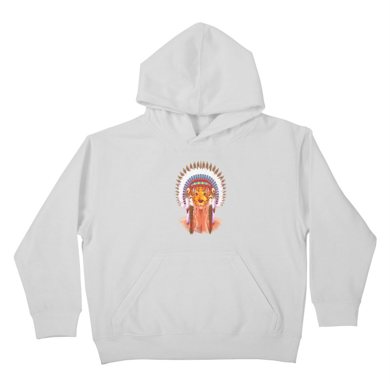 Native American tigress Kids Pullover Hoody by Rejagalu's Artist Shop