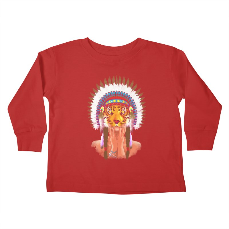 Native American tigress Kids Toddler Longsleeve T-Shirt by Rejagalu's Artist Shop