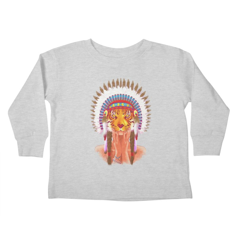 Native American tigress Kids Toddler Longsleeve T-Shirt by Rejagalu's Artist Shop