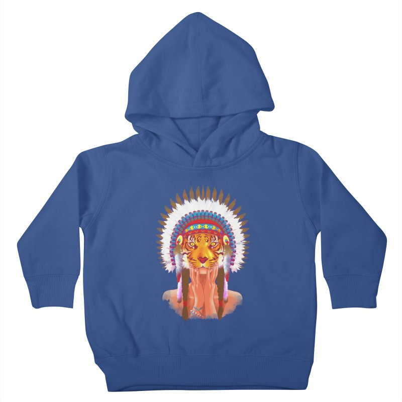 Native American tigress Kids Toddler Pullover Hoody by Rejagalu's Artist Shop