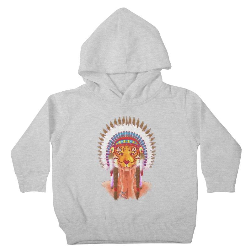 Native American tigress Kids Toddler Pullover Hoody by Rejagalu's Artist Shop