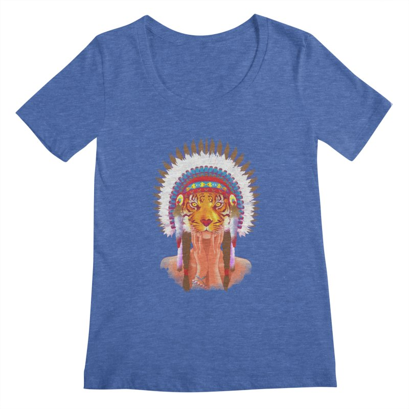 Native American tigress Women's Scoopneck by Rejagalu's Artist Shop