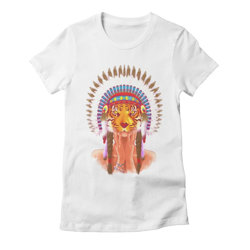Native American tigress Women's Fitted T-Shirt by Rejagalu's Artist Shop