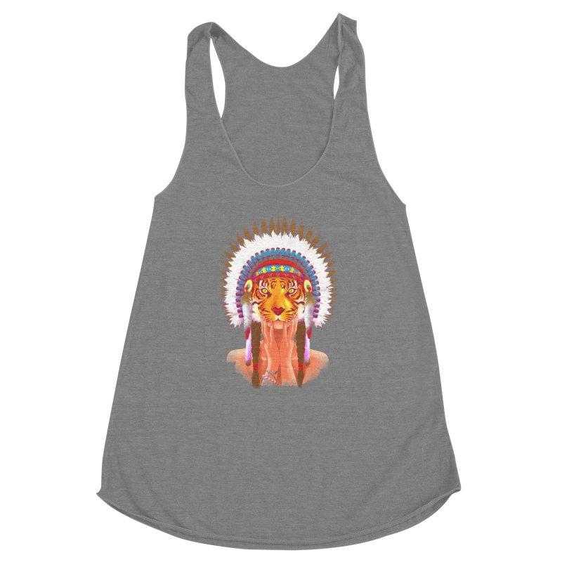 Native American tigress Women's Racerback Triblend Tank by Rejagalu's Artist Shop