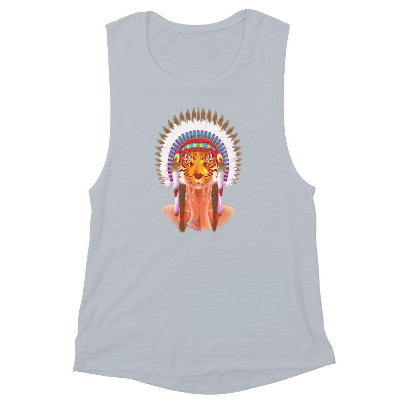 Native American tigress Women's Muscle Tank by Rejagalu's Artist Shop