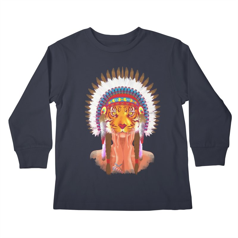 Native American tigress Kids Longsleeve T-Shirt by Rejagalu's Artist Shop
