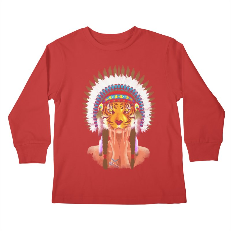 Native American tigress Kids Longsleeve T-Shirt by Rejagalu's Artist Shop