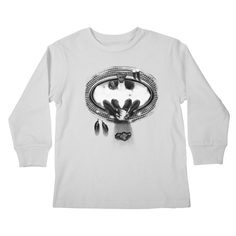 Bath-man - the dark knight rinses Kids Longsleeve T-Shirt by Rejagalu's Artist Shop