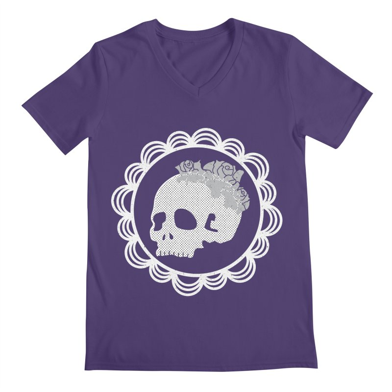 Skull & Roses Men's V-Neck by Relkcruts's Artist Shop