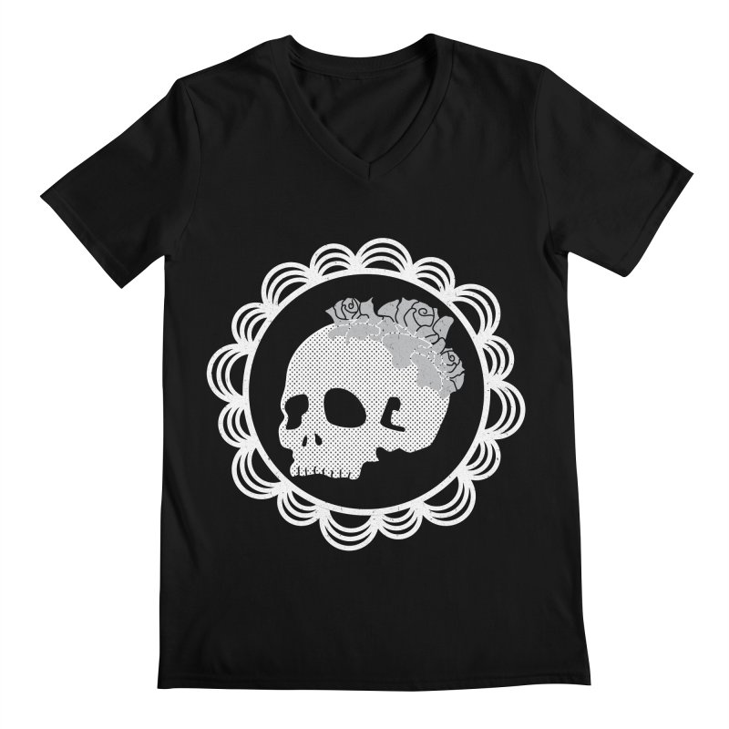 Skull & Roses Men's V-Neck by Relkcruts's Artist Shop