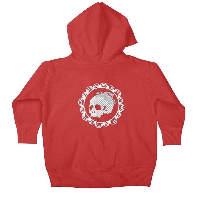 Skull & Roses Kids Baby Zip-Up Hoody by Relkcruts's Artist Shop