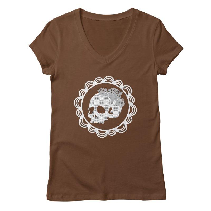 Skull & Roses Women's V-Neck by Relkcruts's Artist Shop