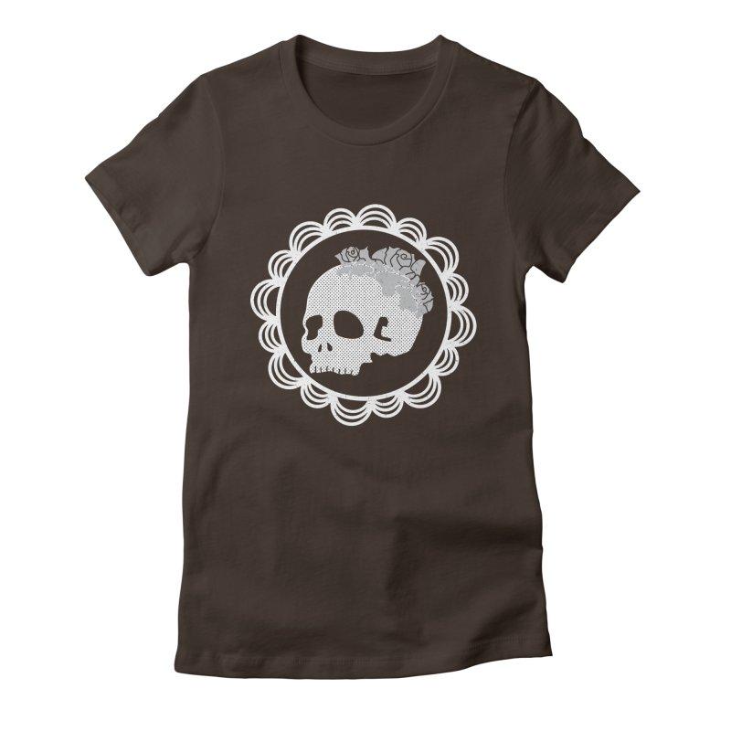 Skull & Roses Women's Fitted T-Shirt by Relkcruts's Artist Shop