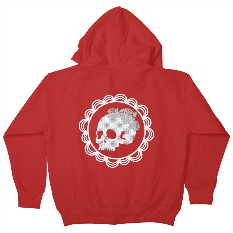 Skull & Roses Kids Zip-Up Hoody by Relkcruts's Artist Shop