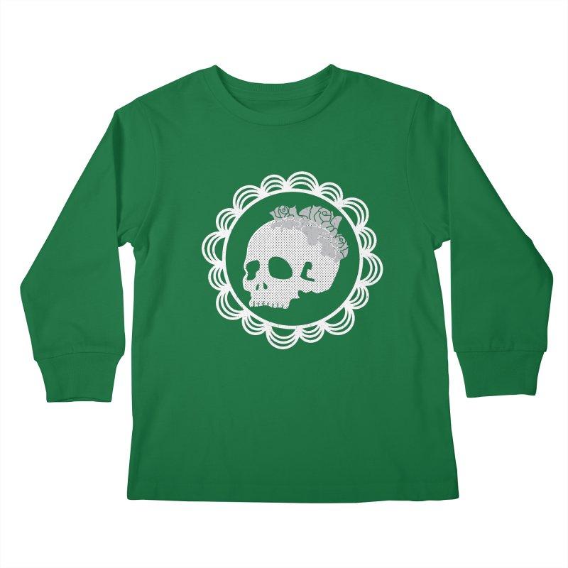 Skull & Roses Kids Longsleeve T-Shirt by Relkcruts's Artist Shop