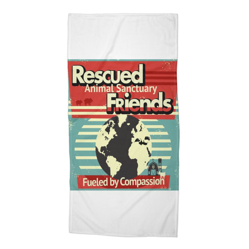Fueled by Compassion World Graphic Accessories Beach Towel by RescuedFriends 's Artist Shop